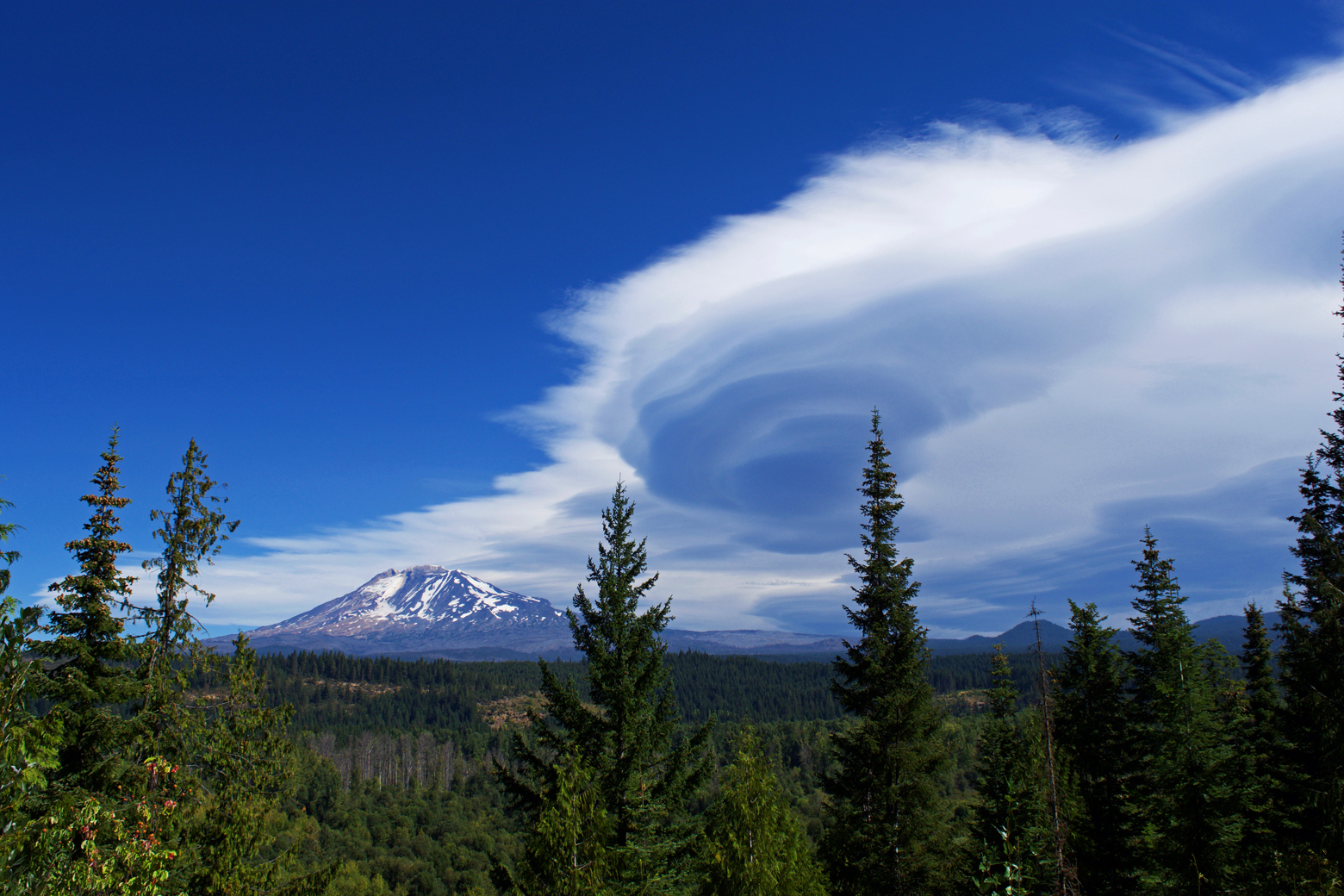 View of Mt. Adams from our campsite at Elk Meadows RV Park with an interesting cloud in the sky