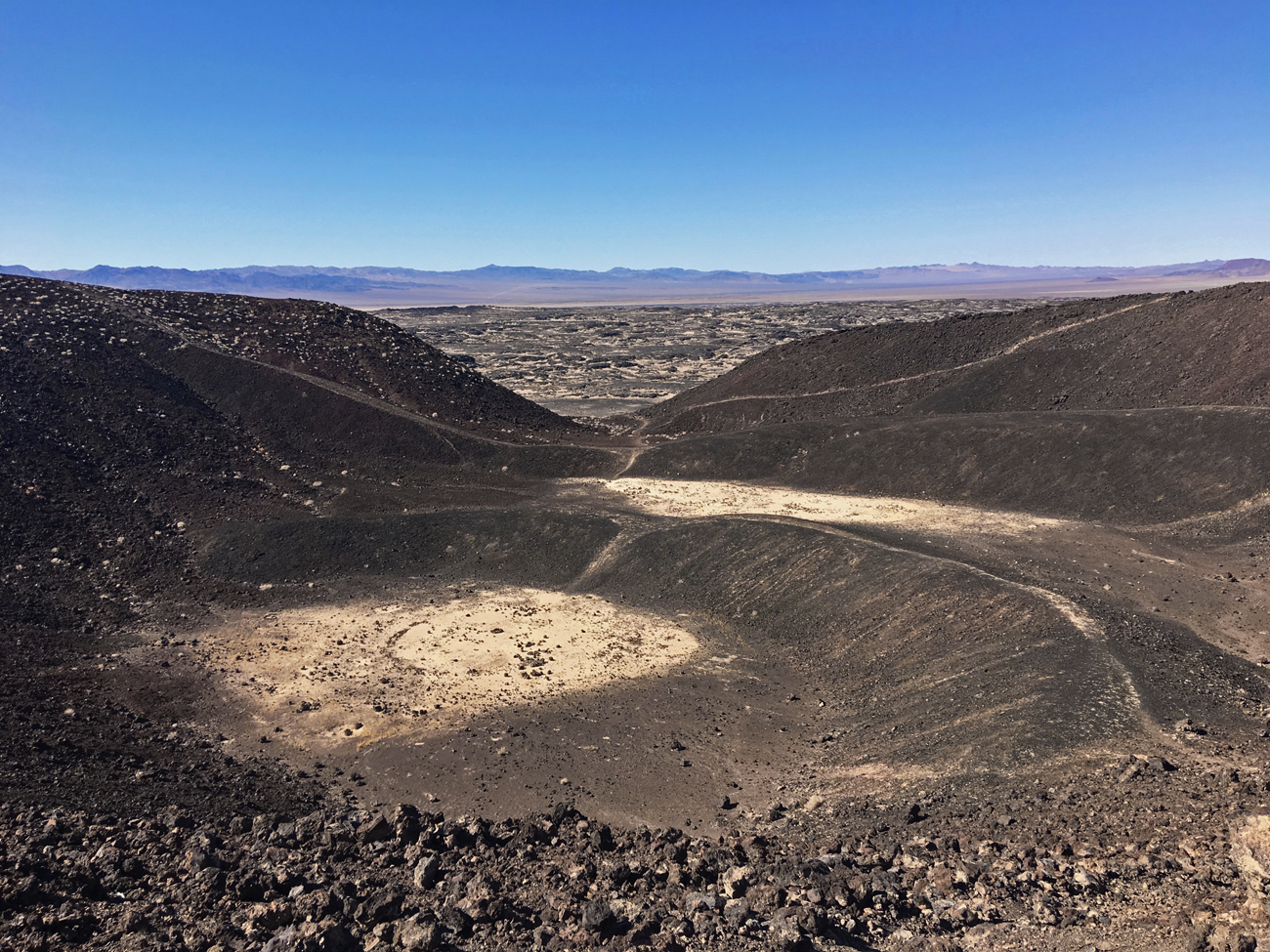 Looking down into the crater from the rim