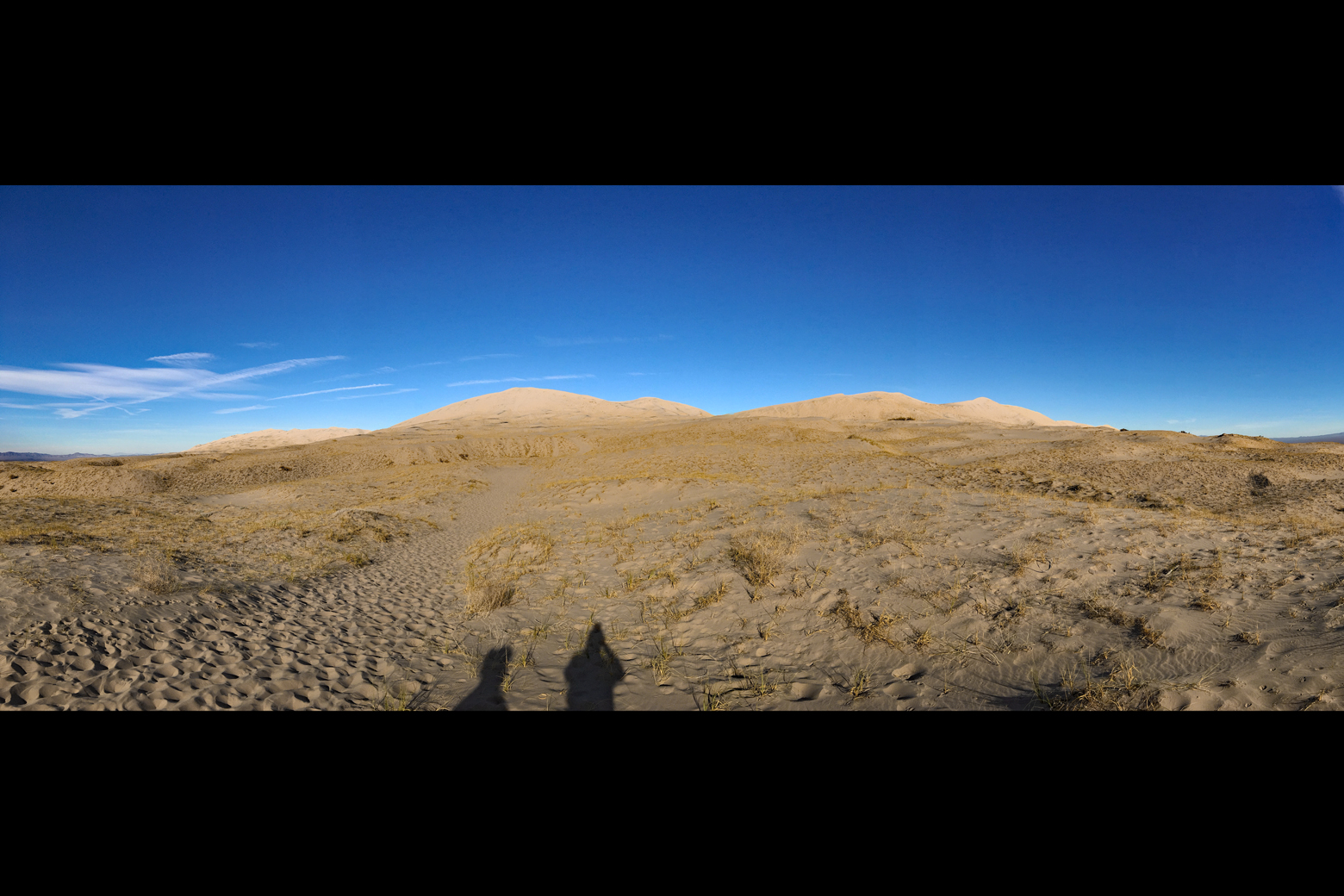At the beginning of the trail to the top of the dunes with the dunes in the distance and our shadows in the foreground