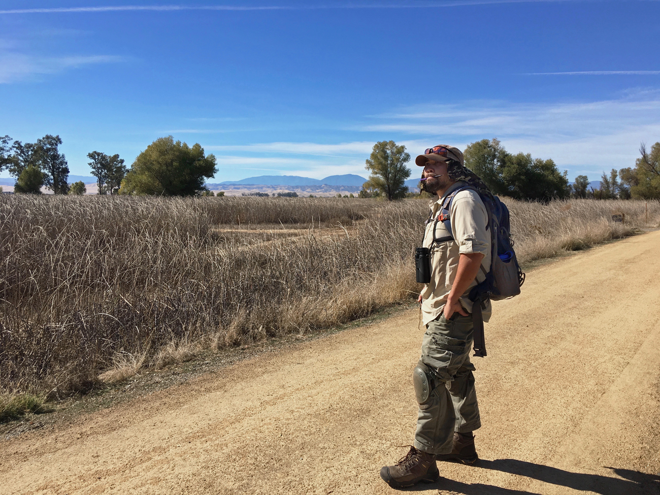 Michael all decked out in his field gear on the trail at the Sacramento NWR