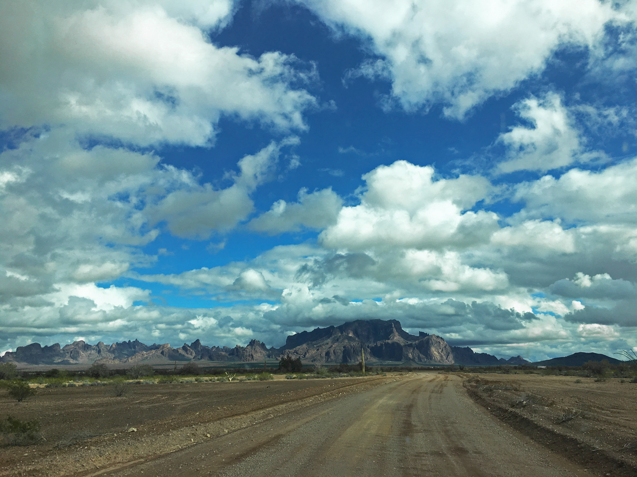 Daytime view of the Kofa Mountains from Palm Canyon Road