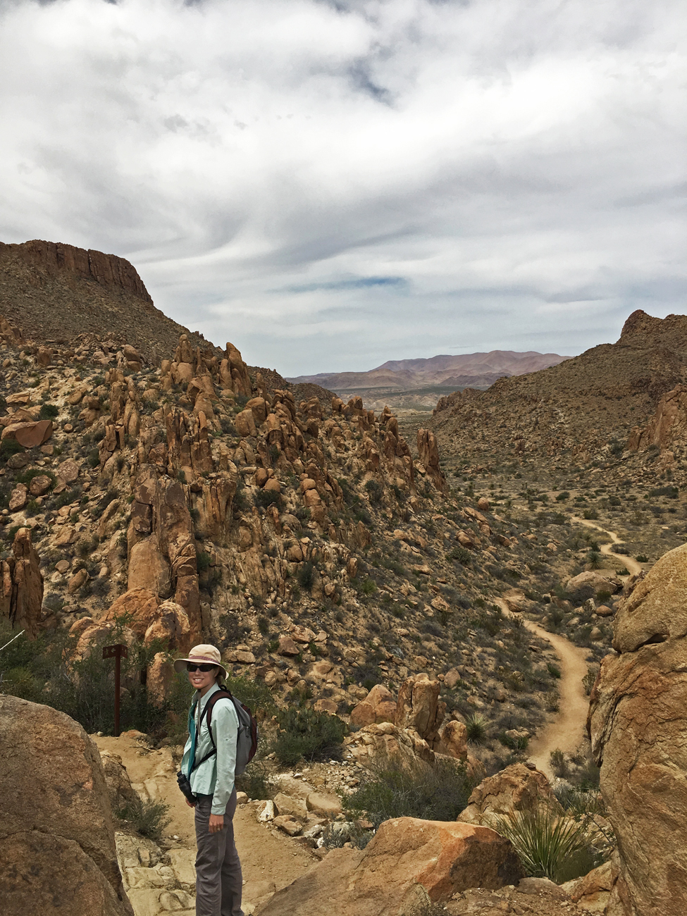 Christina on the Grapevine Hills trail where it climbs into the rocky outcrops in Big Bend National Park