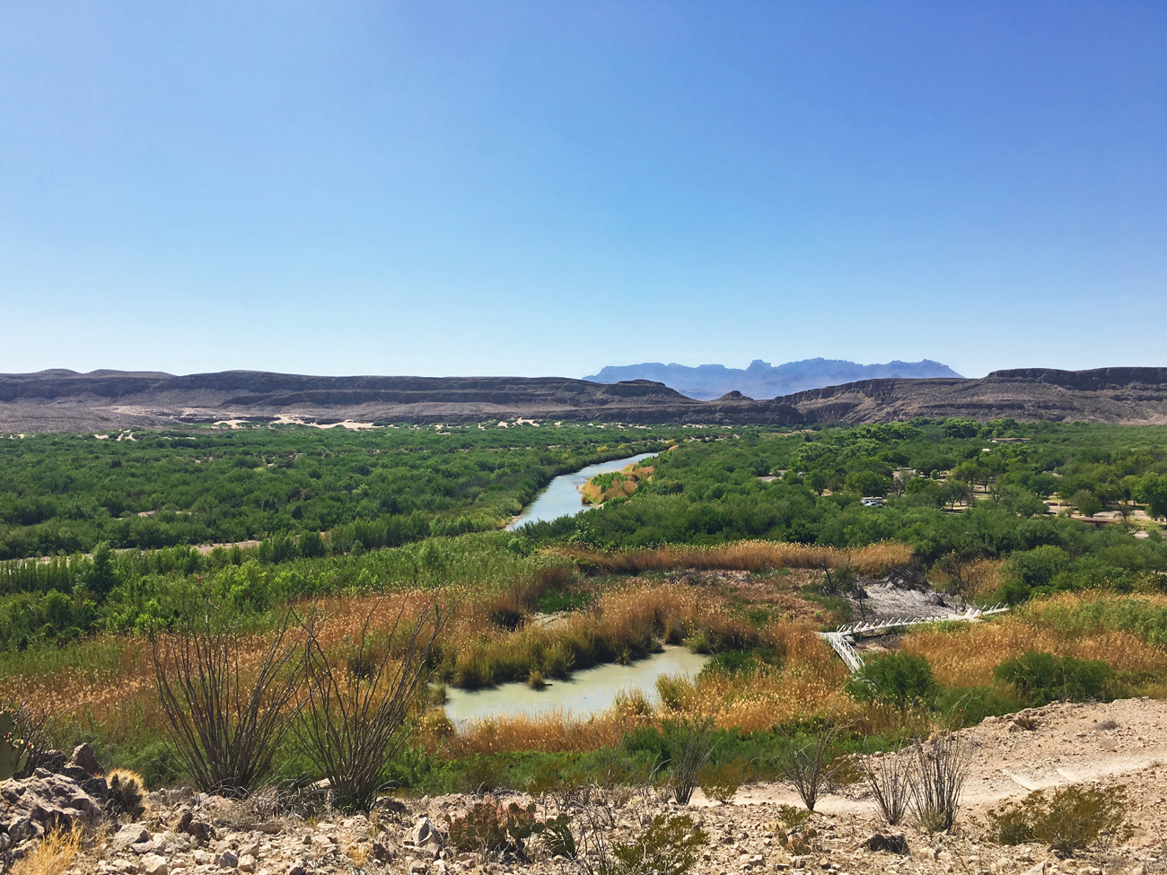 View of the Rio Grande Valley and nature trail at Rio Grande Village