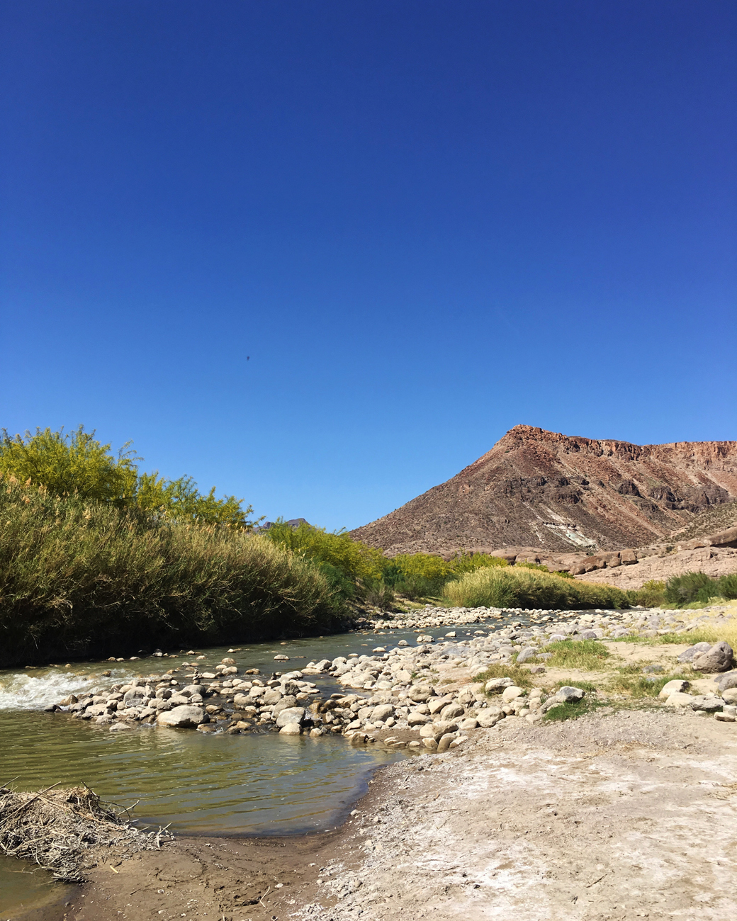View of the Rio Grande from river level on the trail at The Hoodoos
